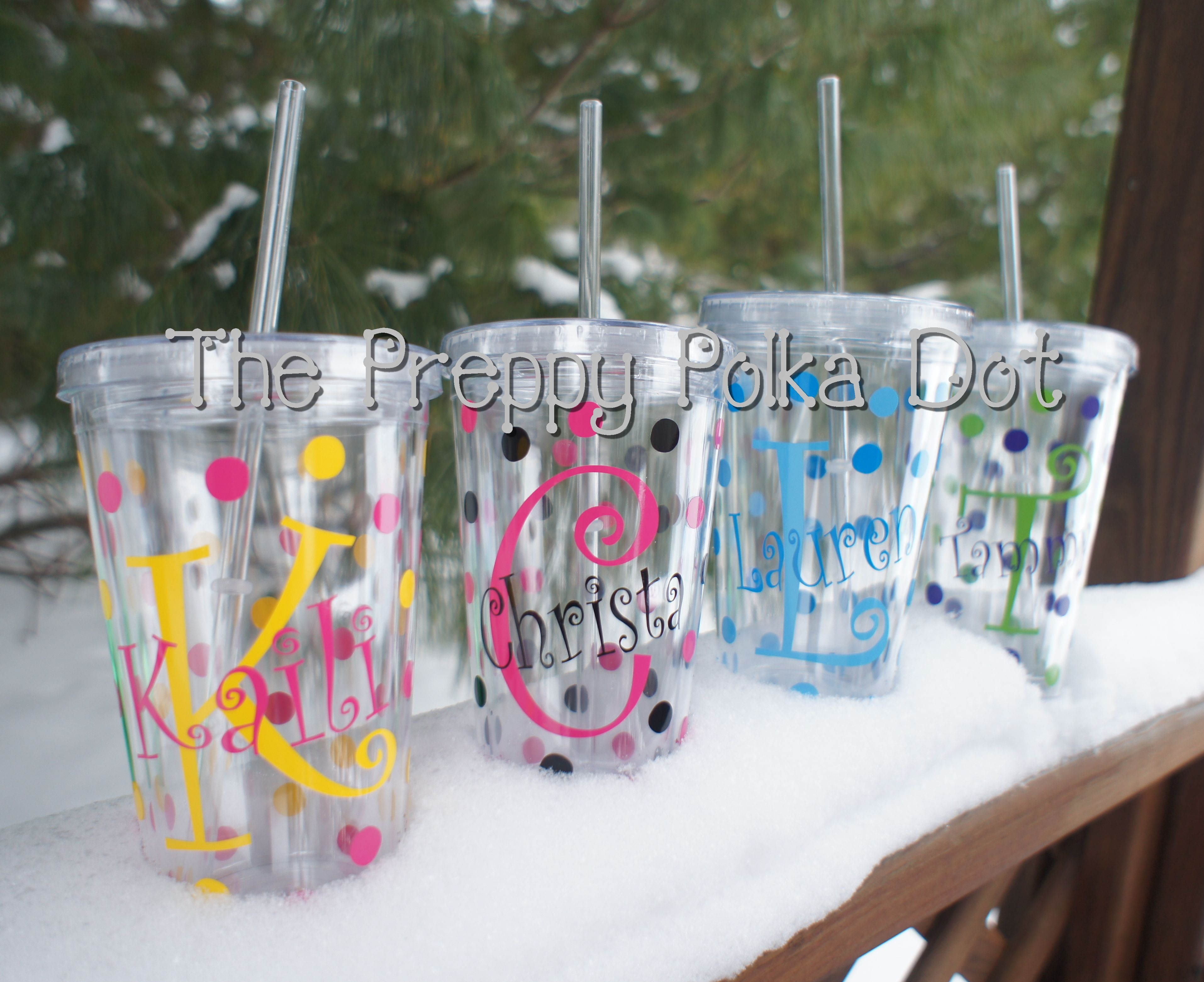 Personalized 16oz Tumbler Cup with Lid & Straw - Name Over Initial