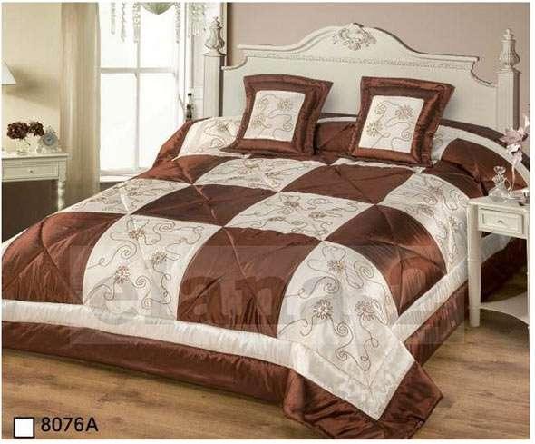 tagesdecke bett berwurf 220 x 240 cm 3 tlg set braun 8076a. Black Bedroom Furniture Sets. Home Design Ideas